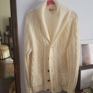 Cozy Cream Color Button Down Sweater Size XLarge